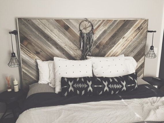 Oversized Reclaimed Wood Headboard by WoodenGeometric on Etsy