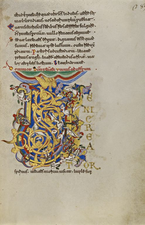 Initial V: The Descent of the Holy Spirit; Unknown; Montecassino, Italy; 1153; Tempera colors, gold leaf, gold paint, and ink on parchment; Leaf: 19.2 x 13.2 cm (7 9/16 x 5 3/16 in.); Ms. Ludwig IX 1, fol. 289