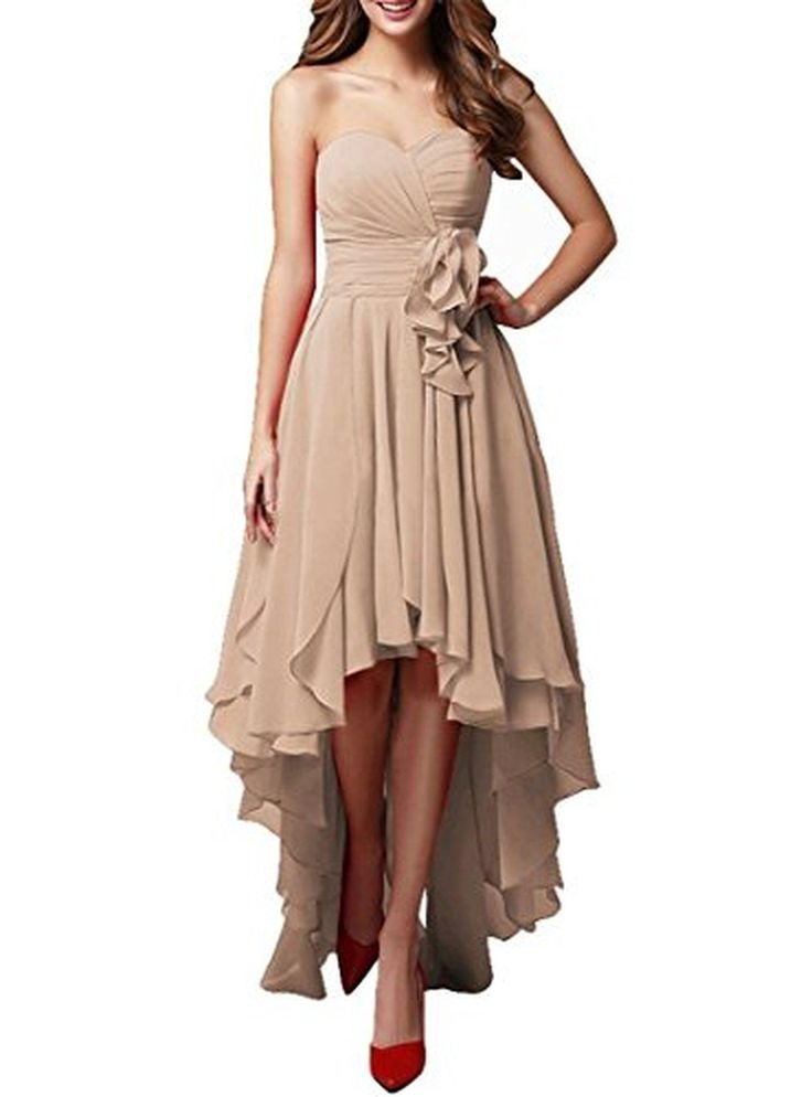 JudyBridal Women Bandeau Hi-lo Party Swing Bridesmaid Dress Evening Grown US16 Champagne - Brought to you by Avarsha.com
