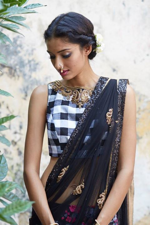 Sapana Amin Bombay Eclectic Fall/Winter 2014 Collection via facebook Love the floral skirt against plaid blouse