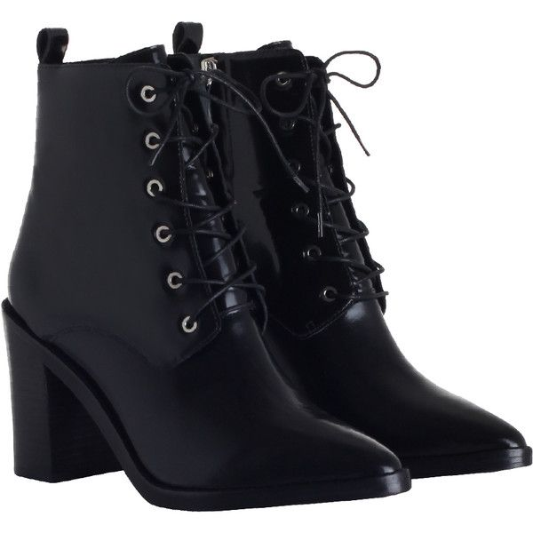 ZIMMERMANN Lace Up Dress Boot (£445) ❤ liked on Polyvore featuring shoes, boots, ankle booties, footwear, zapatos, black bootie, black ankle boots, black dress boots, black high heel booties and black lace up bootie