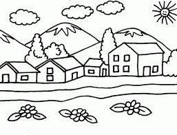 Resultado de imagen para dibujos de paisajes sencillos para colorear