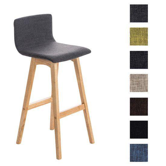 Clp Barkruk TAUNUS - houten onderstel kleur natura, met leuning en voetsteun, stof - lichtgrijs