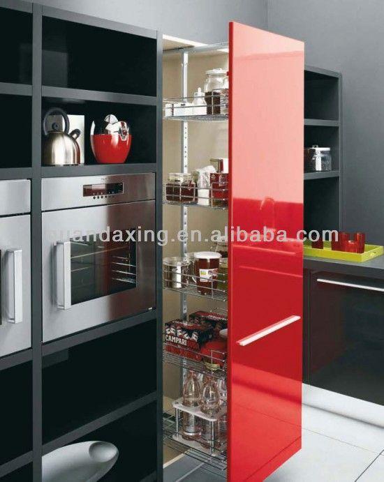 Горячие продаж High Gloss кухонный шкаф, Мебель для кухни, Красный Черно-белый Дизайн кухни Идеи