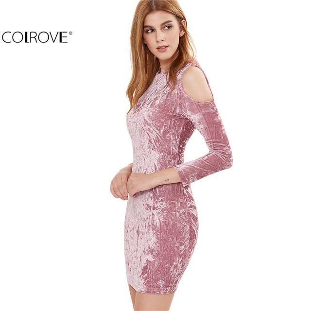 COLROVE Atractivo de Las Mujeres Vestidos de Partido Del Club de Noche Sexy vestido del Club del Desgaste Rosa Cold Shoulder Vestido Ajustado de Terciopelo