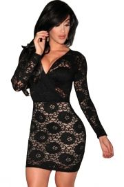 Lusty lace! Black Lace Long Sleeves Bodycon Dress is a wardrobe staple for every woman, definitely catch attention anywhere you go! Always up to trend and versatile, it is the perfect piece for your next gathering and features sexy formfitting sketch, long sleeves, V wrap neckline and sheer lace top reveal some skin and nude illusion lining at bottom.
