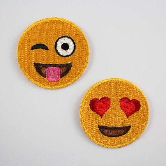 Emoji Set of 2 Embroidered Patches / Iron-On Appliques – Face with Stuck-Out Tongue & Winking Eye + Heart Eyes