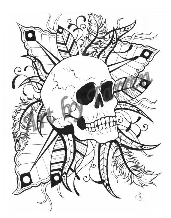 skull feathers printable coloring page art by tarren - Cool Printable Coloring Pages