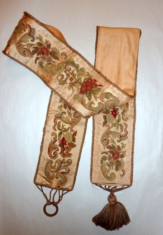 Pre 1900 Antique Wool Embroidery on Silk  Bell Pull
