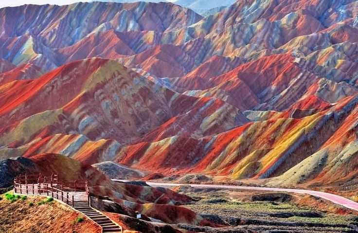 Minerals formation under heavy pressure has created this breathtaking colors of the mountains Rainbow Mountains in China at Zhangye Danxia Landform.