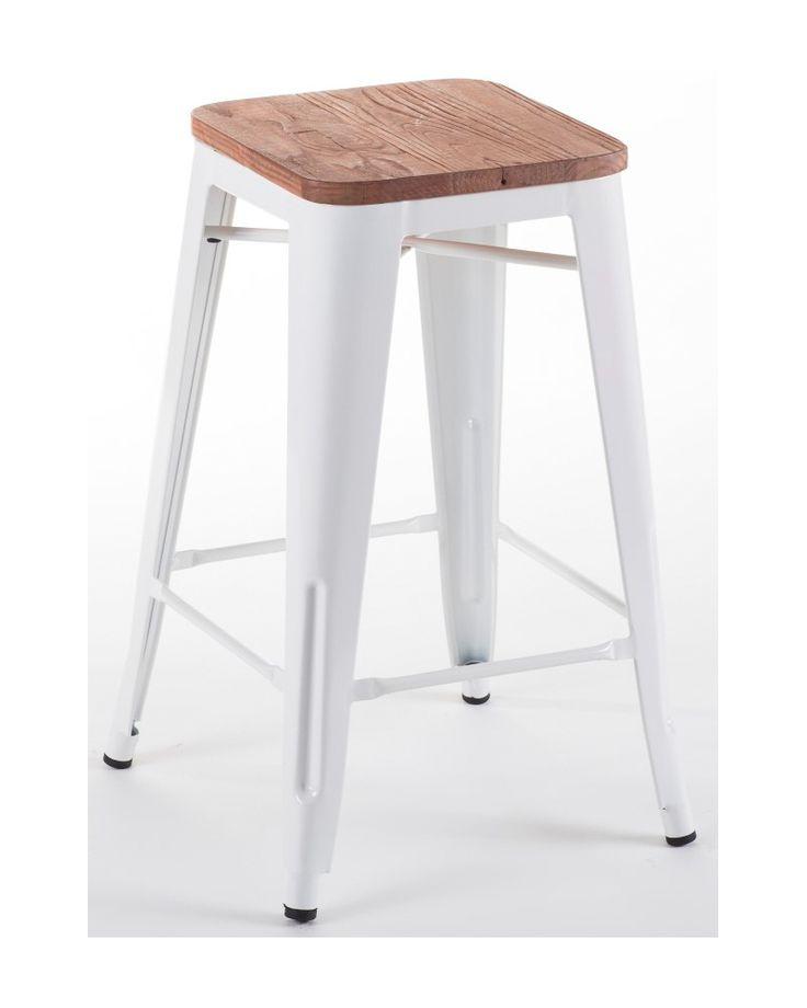 Tolix replica bar stool - white, rustic wood seat 75cm