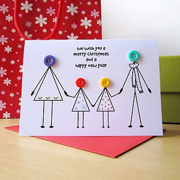 Personalised Family Christmas card 2 girls
