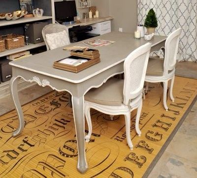 Elegant French Dining Table, beautifully transformed with Annie Sloan chalk paint, French Linen & White. (inventory:3)