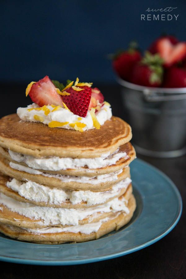 Strawberry Shortcake Pancakes | Recipe from Sweet-Remedy.com #TheIncredibleHull