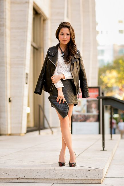 L & L :: Lace blouse & Leather quilted skirt
