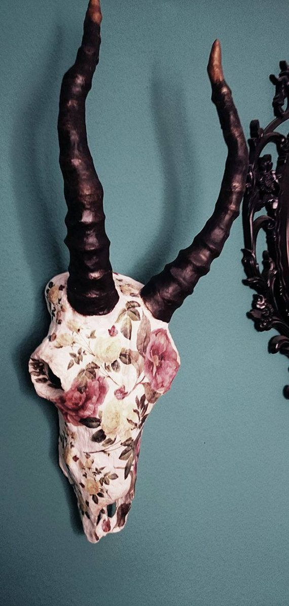 Antelope floral skull by ZografosCrosses on Etsy