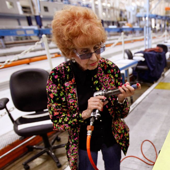 "Elinor Otto was an original ""Rosie the Riveter"" at a Chula Vista, CA plant during WWII. At age 93, Elinor still picks up the riveting gun every morning to work on cargo planes at a Boeing plant in Long Beach, CA. What an amazing woman!"