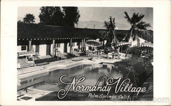 RPPC 1948 Palm Springs CA Normandy Village Riverside County California