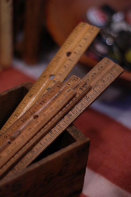 Vintage rulers ~ Still have my dad's old yard stick from Kentucky.