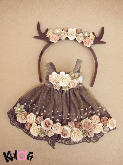 Little deer Flowers dress Set by kuloft on Etsy