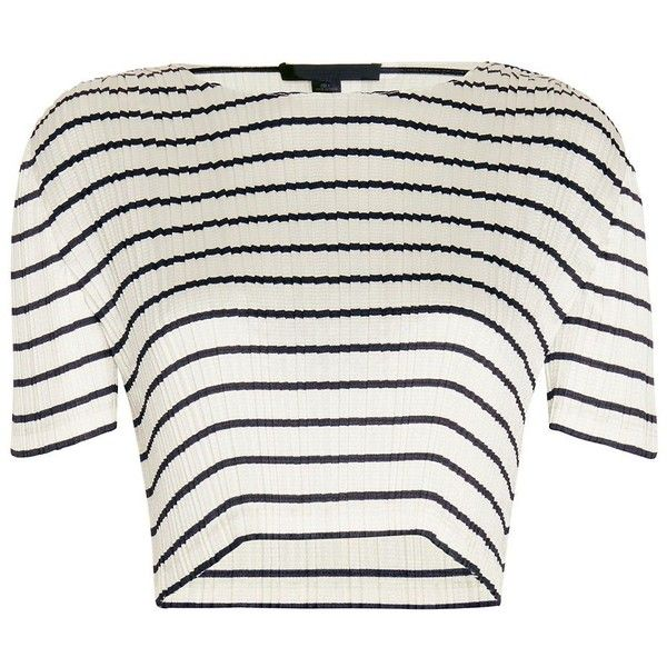 Alexander Wang Pleated Stripe Crop Top found on Polyvore featuring tops, shirts, crop tops, white 3/4 sleeve shirt, 3/4 sleeve crop top, polyester shirt, white stripes shirt and striped top