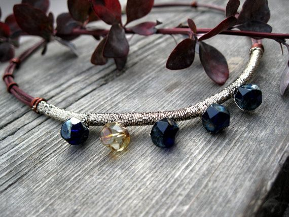 Robin - amber dark blue rusty red color beaded boho statement necklace by Planeteer