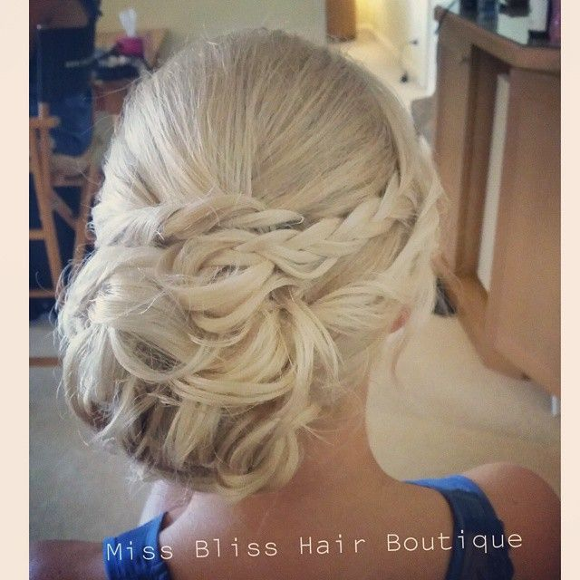 Bridesmaid Hair Styling on the blonde beauty.  Hair by Kristy from Miss Bliss  www.missblissonline.com.au #bun #braid #missbliss  #weddinghair