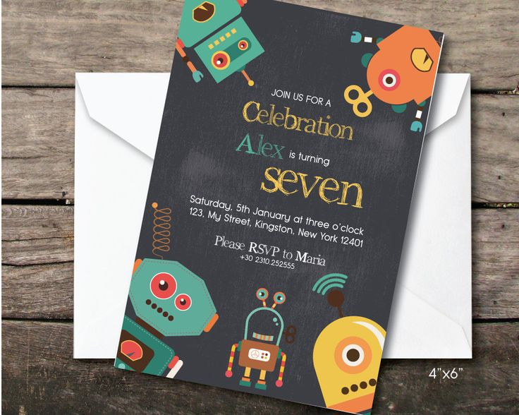 robot birthday party invitation, Printable and printed, seventh birthday boy, paper and party supplies, thank you card, robot party by BeePrintDesigns on Etsy