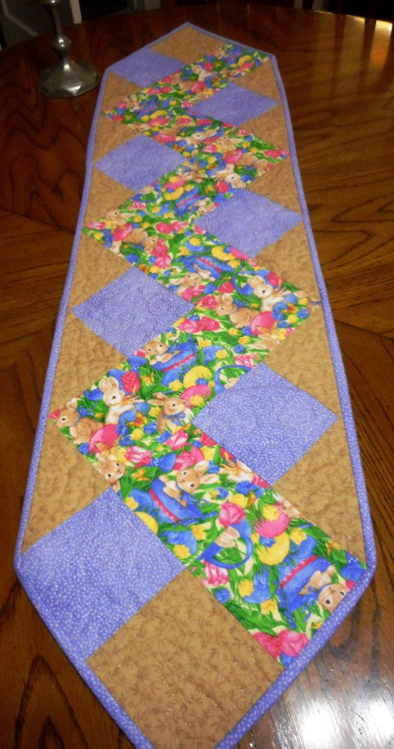 Reserved; Quilted Easter Table Runner with Easter Bunnies, eggs and baskets