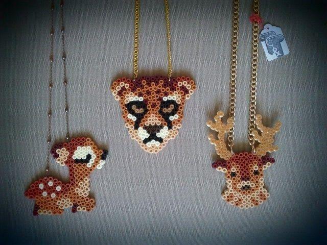 Perler bead necklaces