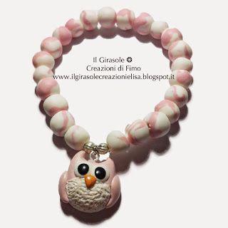 Il Girasole ❂  Creazioni di Fimo: Bracciale elasticizzato con perline fatte a mano e...