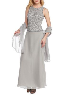 Jkara Women's Beaded Chiffon Gown - Silver - 12