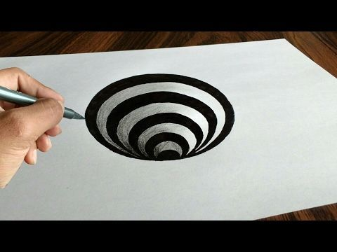 Very simple art of trick 3D How to draw a round hole on paper