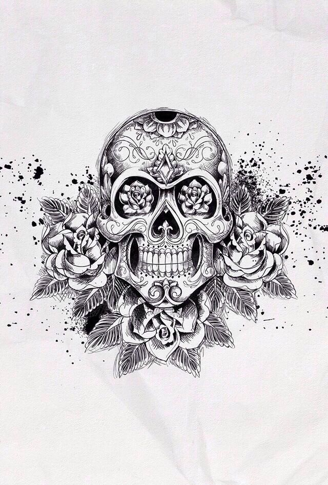 Rose skull iphone background wallpaper background pinterest iphone backgrounds skull - Rose dessin tatouage ...