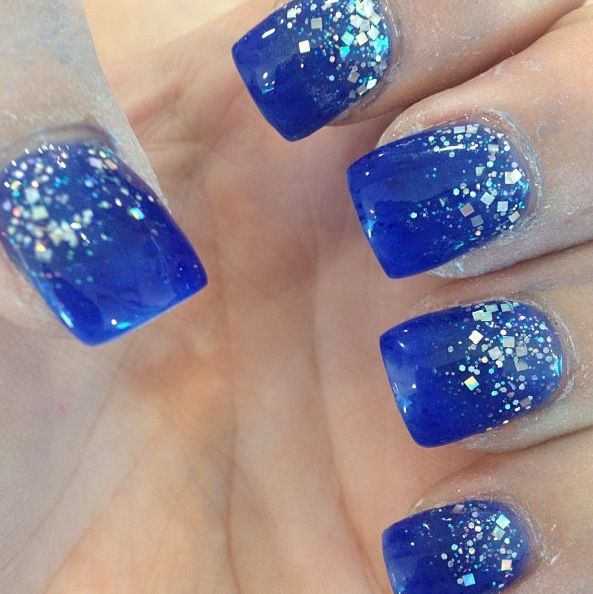 Blue gel nails, reverse glitter