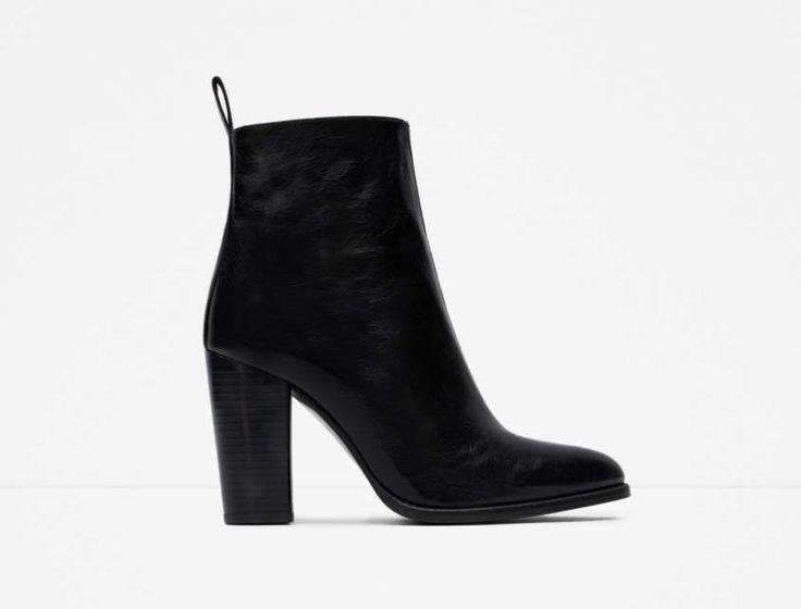 Collezione scarpe Zara Primavera Estate 2016 - Stivaletti neri in pelle con tacco largo