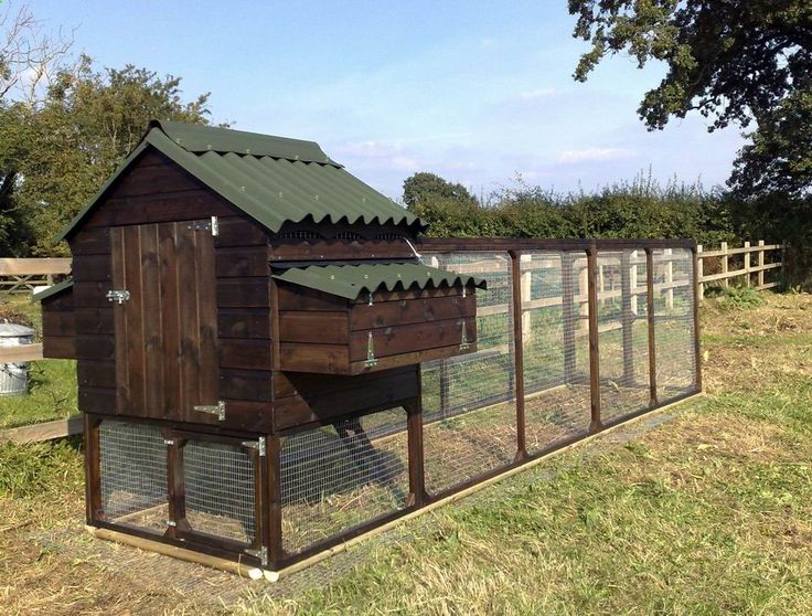 Nicely laid out chicken run with hen house. Deep paint color too. #HenHouse www.FreeHenHouseP...