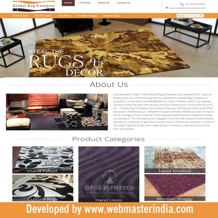 Opal Infotech has launched a responsive Wordpress website www.globalrugcompany.com for Global Rug Company, which is a leading Carpet manufacturer producing quality Hand loom, Hand tufted, Hand Knotted, Woollen Shaggy and Leather Carpets. To Find more Wordpress websites, visit at http://www.webmasterindia.com/portfolio/ or more details mail us on biz@webmasterindia.com.   #OpalInfotech #ResponsiveWordpress #ResponsiveWordpressWebsite #WebDevelopment #WordpressWebsites
