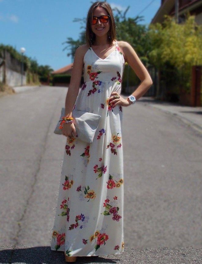 Vestidos blancos floreados largos