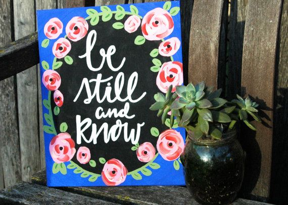 Be Still 8x10 Hand Painted Flat Canvas Hand by rusticshinestudio