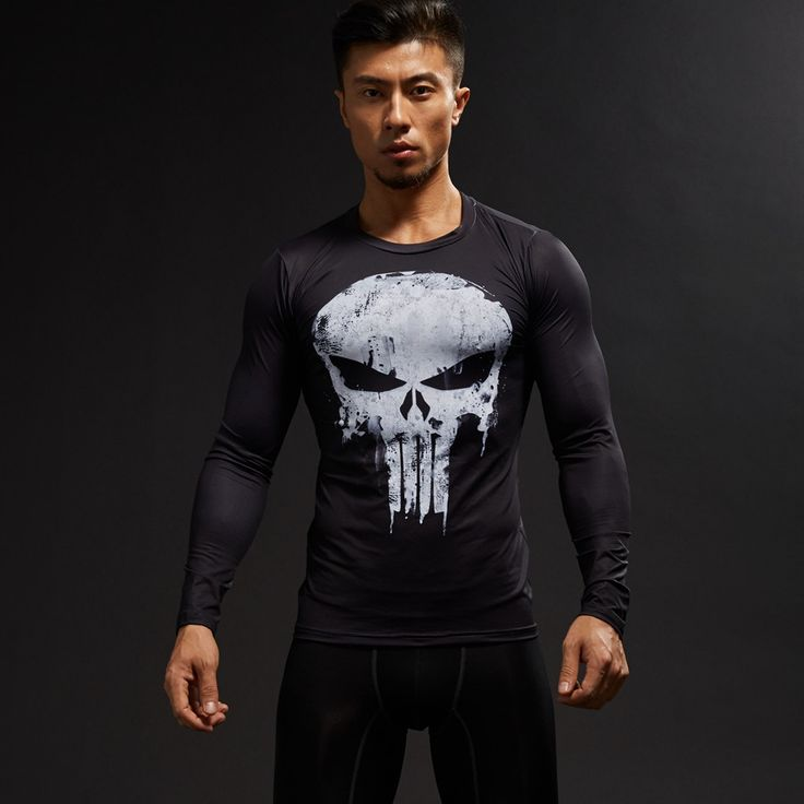Mens Long-sleeve Tops Punisher Compression Shirt 3D Printed Fitness T-shirt Skulls Casual tops. Yesterday's price: US $18.00 (14.71 EUR). Today's price: US $3.90 (3.19 EUR). Discount: 61%.