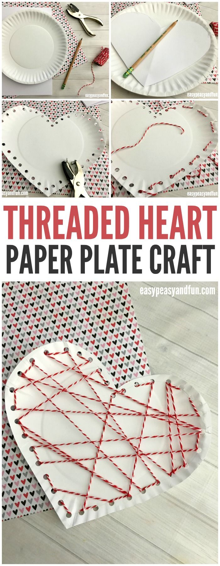 A sweet way to work on fine motor skills this spring! Make a threaded heart paper plate craft for Valentines Day