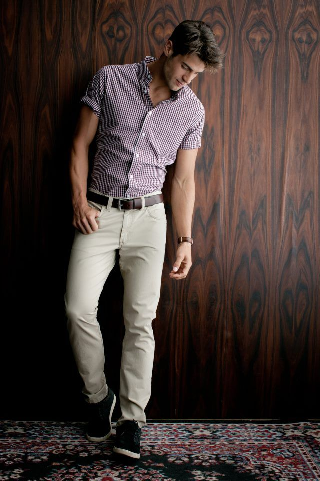 shortarmed shirt + chinos + sneakers