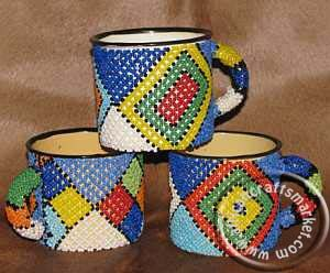 African Zulu beaded coffee mug