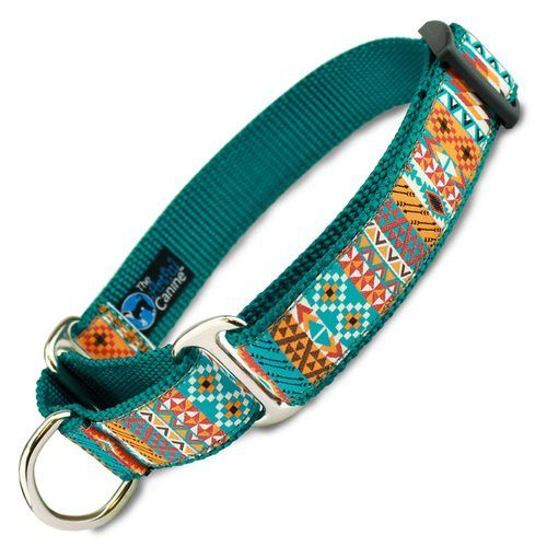 This soutwestern martingale dog collar is a tribal limited slip collar that is great for training, leash walking, sighthounds, escape artists, rescues or puppies Sizes x-small, small, medium, large, x-large