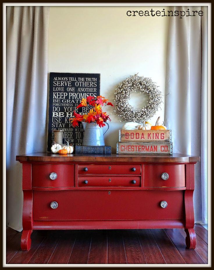 createinspire: Vintage Lowboy in Tuscan Red by General Finishes