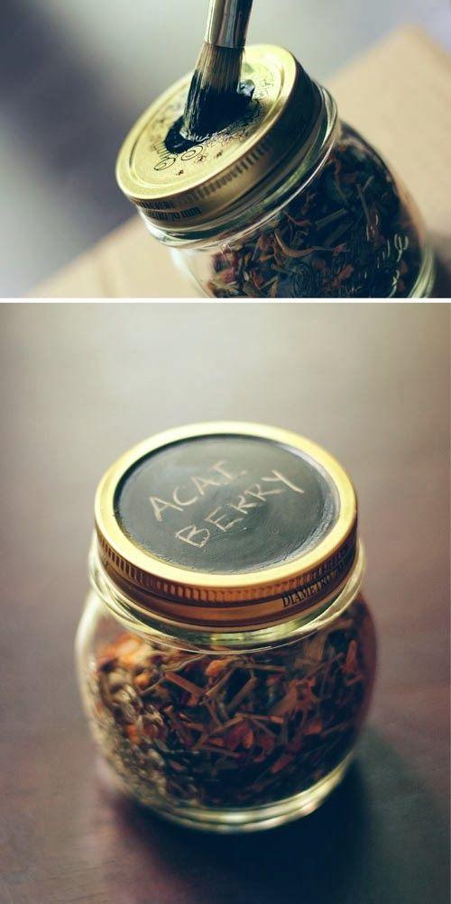 DIY Storage Jars labeling using chalk paint