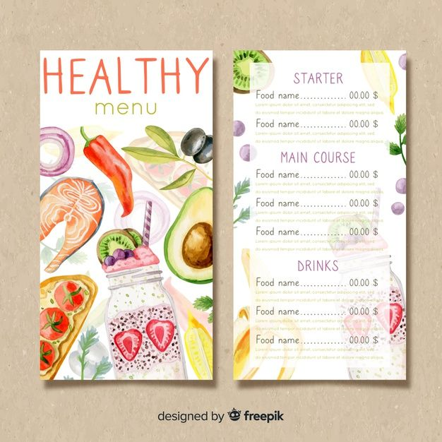 Watercolor Healthy Menu Template Food Menu Template Menu