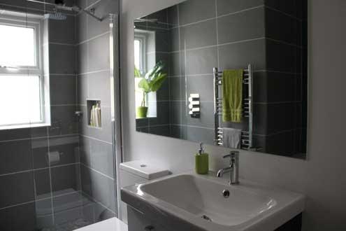 tiny grey green bathroom