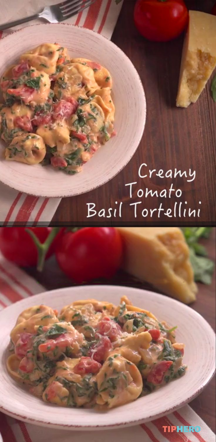 Creamy Tomato Basil Tortellini Recipe | With 10 minutes to prep and 25 to bake - here's a tasty meal you can whip up mid-week. Substitute spiral zucchini for the tortellini, and no sugar cream sauce, basil, chili flakes, parmesan and spinach, it's quite the flavorful dish.